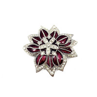 Monet Enamel Flower Brooch, Pave Clear Ice Rhinestones, Red Enamel, Silver Tone, Multi Dimensional, Vintage, Signed, 1980s, Monet Jewelry