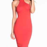 Streetstyle  Casual Sexy High Neck Back Hole Solid Bodycon Dress