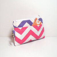 Purple Phone Wallet - Pink and Purple - Pink Chevron Print - Zipper Pouch - Pink Clutch Bag - Coin Purse - Change Purse - Change Wallet
