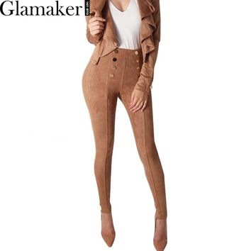 Glamaker Button suede leather women pants & capris Skinny stretch casual high waist pants Spring bodycon slim trousers