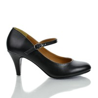 KayleeH Black Pu By City Classified, Closed Toe Mary Jane Glossy Kitten Heel Professional Pump