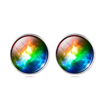 Universe Glass Cabochon Silver Stud Earrings
