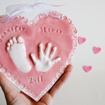 Baby hand prints 3D Ceramic  Keepsake of your by Dprintsclayful