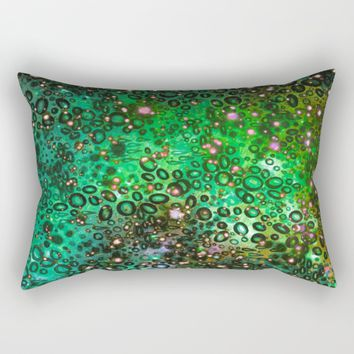 RAINBOW DOTTY OCEAN 3 Green Lime Ombre Space Galaxy Colorful Polka Dot Bubbles Abstract Painting Art Rectangular Pillow by EbiEmporium