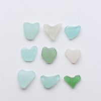 Sea Glass Hearts Beach Glass Hearts 9 pcs