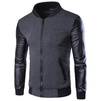 Men Hoodies Patchwork Leather Sleeve Fashion Hoodies Brand Sweatshirt Men Jacket Coat Casual Coat Pullover Tracksuits Masculino