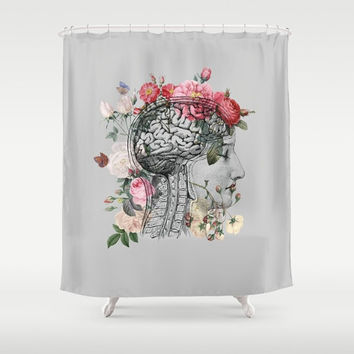"Anatomical Brain Shower Curtain ""Beautiful Brain"" Illustration - vintage roses, love, unique, vintage chic, beautiful, gray"