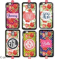 Rose Samsung Galaxy S4 case Monogram Apple iPhone 6 cover S3 S5 Note 3