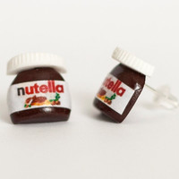Nutella earrings Polymer Clay minature chocolatestud by Zoozim