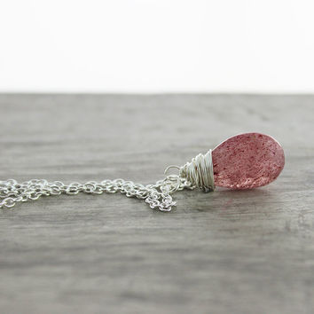 Pink Rutilated Quartz Necklace, Sterling Silver Necklace, Wire Wrap Necklace, Pink Pendant Necklace, Quartz Gemstone Necklace, Strawberry