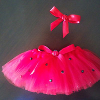 Dog/ Pet Small Ladybug Halloween Costume Tutu with Matching Hair Bow Clip