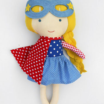 CLOTH DOLL, superhero girl doll, fabric doll, dolls, textil doll, rag dolls, dress up doll, toys, handmade doll, superhero, nautical doll