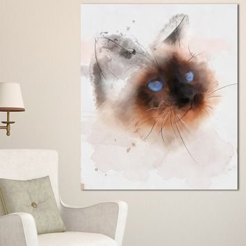 Designart 'Black Cute Cat with Blue Eyes ' Modern Animal Canvas Wall Art | Overstock.com Shopping - The Best Deals on Gallery Wrapped Canvas