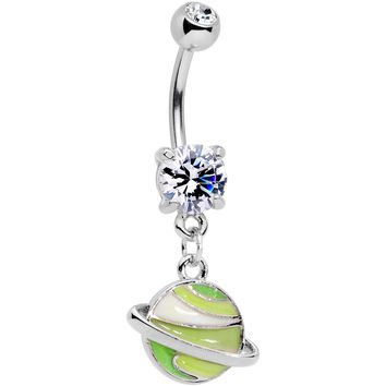 Clear Gem Green Rings Of Saturn Dangle Belly Ring