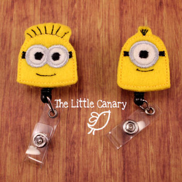 Minion Badge Reel--Badge Holder--Despicable Me Badge--Retractable Badge Reel--Felt Badge Holder