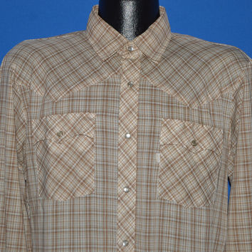 80s Brown Plaid Western Pearl Snap Shirt Large/Extra Large