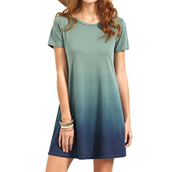 ROMWE Women's Tunic Swing T-Shirt Dress Short Sleeve Tie Dye Ombre Dress