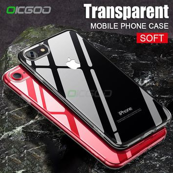 OICGOO Soft TPU Transparent Case For iPhone 8 8 Plus 7 7 Plus Silicone Full Cover For iphone X Case 8 7 6 6s 5 5s SE Phone Cases