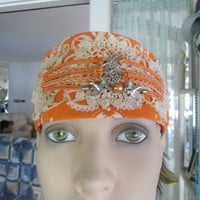 Upcycled Redesigned Orange Lace Pendant Headband Kerchief Bandana
