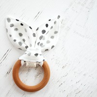 Wooden Teether in Watercolor Dots