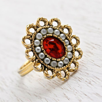 Vintage Red Stone & Faux Seed Pearl Ring - Signed Sarah Coventry 1970s Gold Tone Adjustable Portrait Costume Jewelry / Victorian Flower