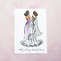 Maid of Honor Proposal / Bridesmaid Proposal Gift / Sister of the Bride Gift / Maid of Honor Art Print / Will You be my Bridesmaid Gift