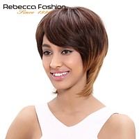 Straight Hair Short Wig Machine Made Brazilian Human Hair Wigs For Black Women Blonde Color LXMD4/30/27