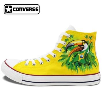 Brazil All Star Bird Green-Winged Macaw Hand Painted Canvas Shoes