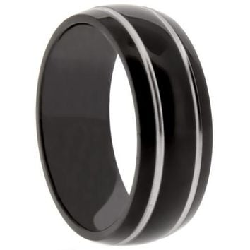 8mm Oval polished Black Titanium Ring With Silver Dual Grooves