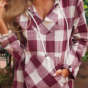 Red and White Long Sleeve Checked Shirt with Hood