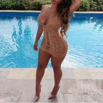 Backless Wuede Bandage Bodycon Mini Dress