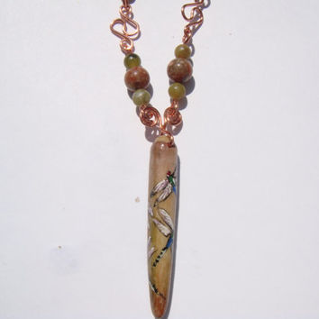 dragonflies handpainted on sea urchin spine 18 inch necklace copper wirewrapped