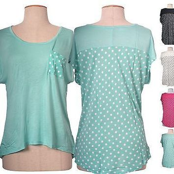 Women Sexy V Neck Solid & Polka Dot Print Short Sleeve High Low Hem Top Shirt