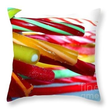 "Candy Cables Throw Pillow 16"" x 16"""