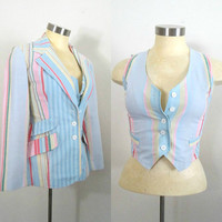 Fitted Blazer Vest Set / Pastel Striped Vintage 1970s Bobbie Brooks