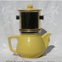 SALE-15% OFF Vintage yellow teapot and filter, yellow coffeepot, retro teapot, vintage coffeepot, french country home, french home decor
