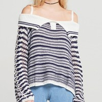 Black Stripe Off Shoulder Lace Up Sleeve Knit Sweater