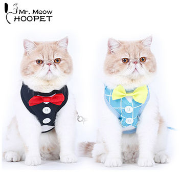 Tuxedo Cat Harnesses Set Cute Bowtie Leash & Collar Polyester Fabrics British Style small dog Adjustable  Wedding Dress Party