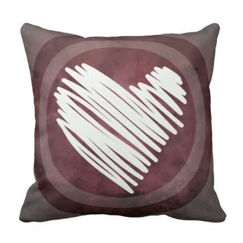 Dusty Rose Heart Decorative Accent Pillow