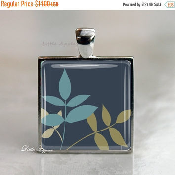 ON SALE Leaves necklace, Indigo blue pendant, rustic fall, glass jewelry