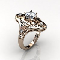 Mexican Art Deco 14K Rose Gold 1.0 Ct White Sapphire Diamond Engagement Ring Wedding Ring R351-14KRGDWS