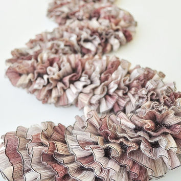 Hand Knit Mauve Ribbon Scarf Textured