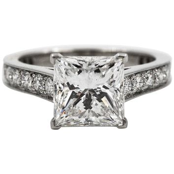 Cartier Princess Cut GIA Certified 3.01 Carat Diamond Platinum Solitaire Ring