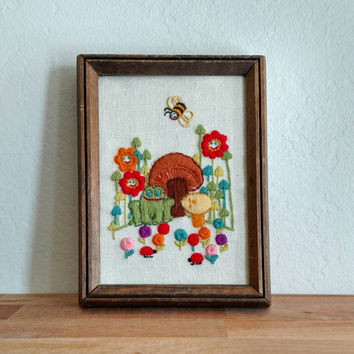 Embroidered Artwork Framed | Happy Art Work | Forest Scene | Kids room decoration | Bumblebee | Toadstool | Flowers | Mushrooms | Ladybug