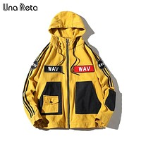 Una Reta Hooded Jacket Men Fashion New Autumn Winter Hip Hop Jackets Male Retro 100% Cotton Streetwear Casual Denim Jacket coat