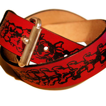 Vertebrae Spine Leather Belt - handmade belt screen printed with bones design