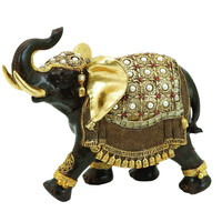 Polystone Elephant with Intricate Detailing and Carvings