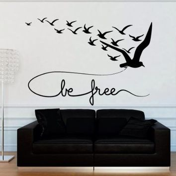 Wall Decal Decor Decals Sticker Art Bird Seagull Flight Swallow Inscription Be Free Bedroom (M1207)