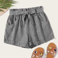 Striped Self Tie Shorts