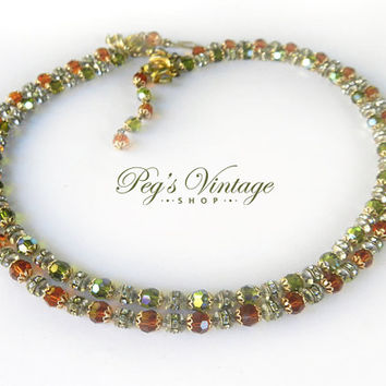 Czech Glass Crystal Double Strand Necklace/Topaz AB,Peridot Green Crystal Bead Necklace, Vintage Antique Jewelry